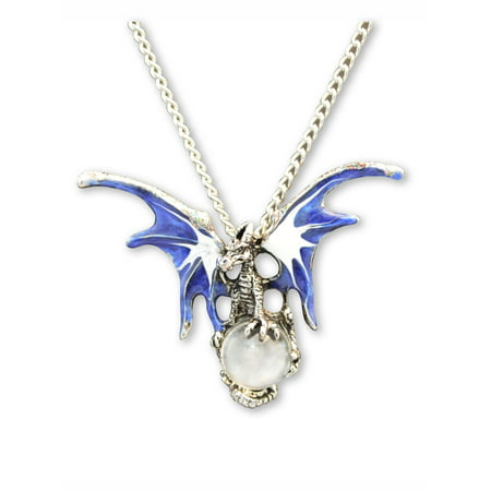 Mystical Blue Dragon with Clear Crystal Ball Medieval Renaissance Pendant Necklace by Real Metal Jewelry ()