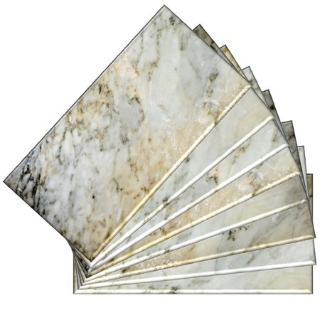 SkinnyTile 04404 Peel and Stick Natural Marble Shades 6 in. x 3 in. Glass Wall Tile (48-Pack)