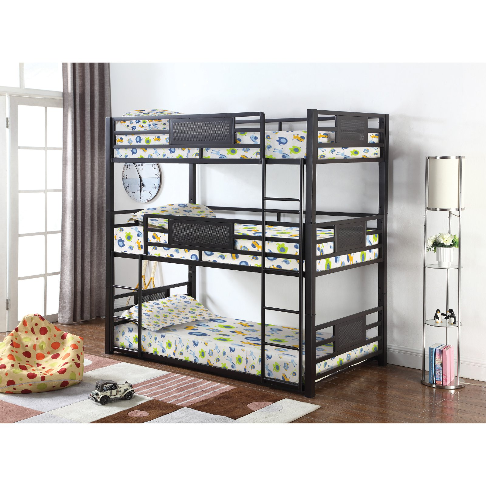 Coaster Rogen triple bunk bed in twin.  Finished in dark bronze, contructed with steel.