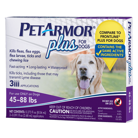 PetArmor Plus Flea and Tick Prevention for Large Dogs, 3 Monthly Treatments
