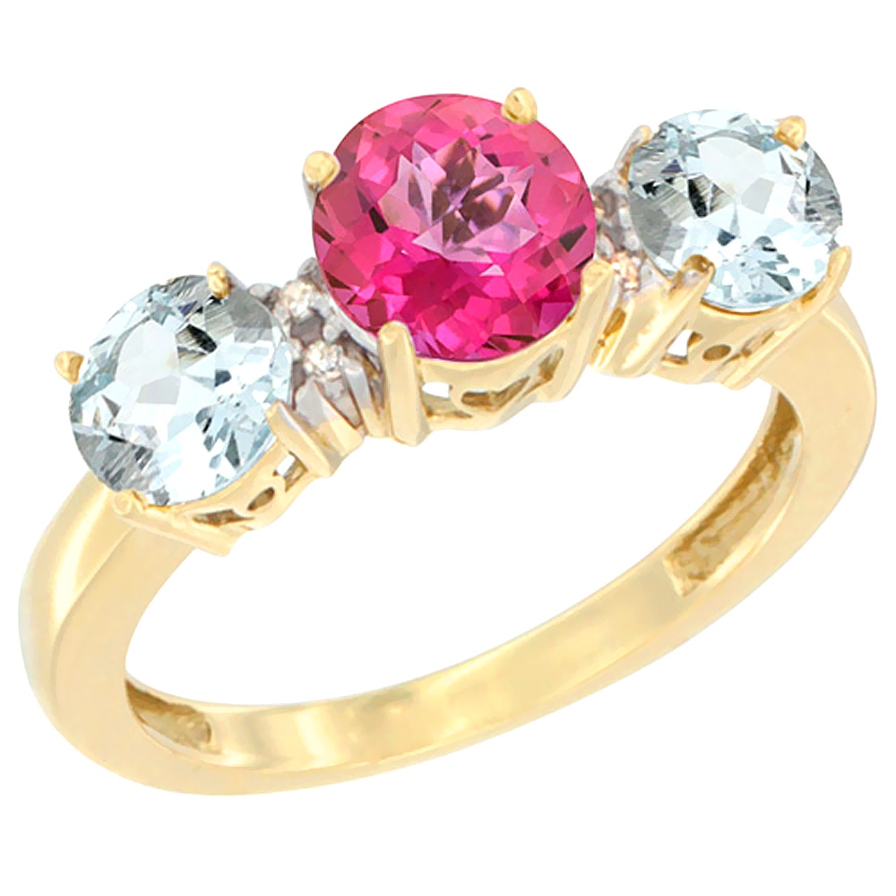 10K Yellow Gold Round 3-Stone Natural Pink Topaz Ring & Aquamarine Sides Diamond Accent, sizes 5 10 by WorldJewels