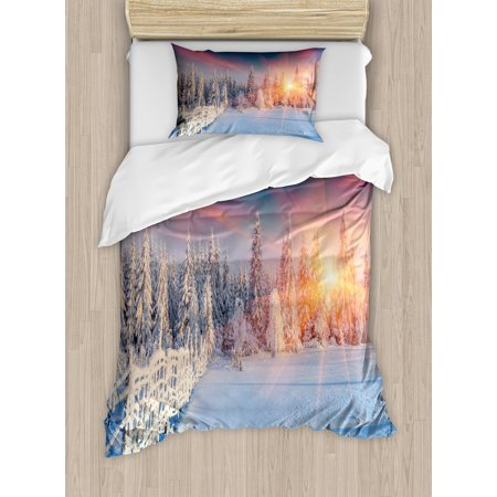 Winter Twin Size Duvet Cover Set, Colorful Winter Panorama Photograph of Carpathian Mountains Ukraine Europe Print, Decorative 2 Piece Bedding Set with 1 Pillow Sham, Multicolor, by Ambesonne ()