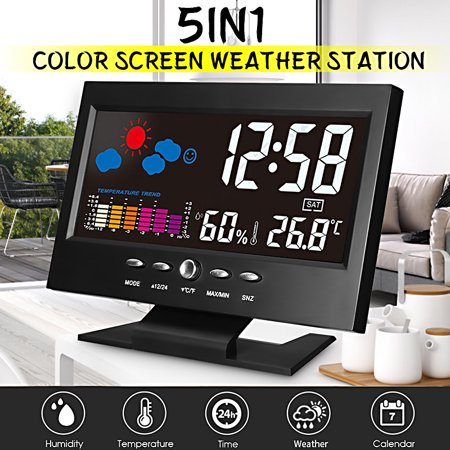 LCD Color Screen Digital Backlight Forecast Snooze Alarm Clock Thermometer Weather Station Indoor Temperature Humidity Time Date Display wiith UBS Cable
