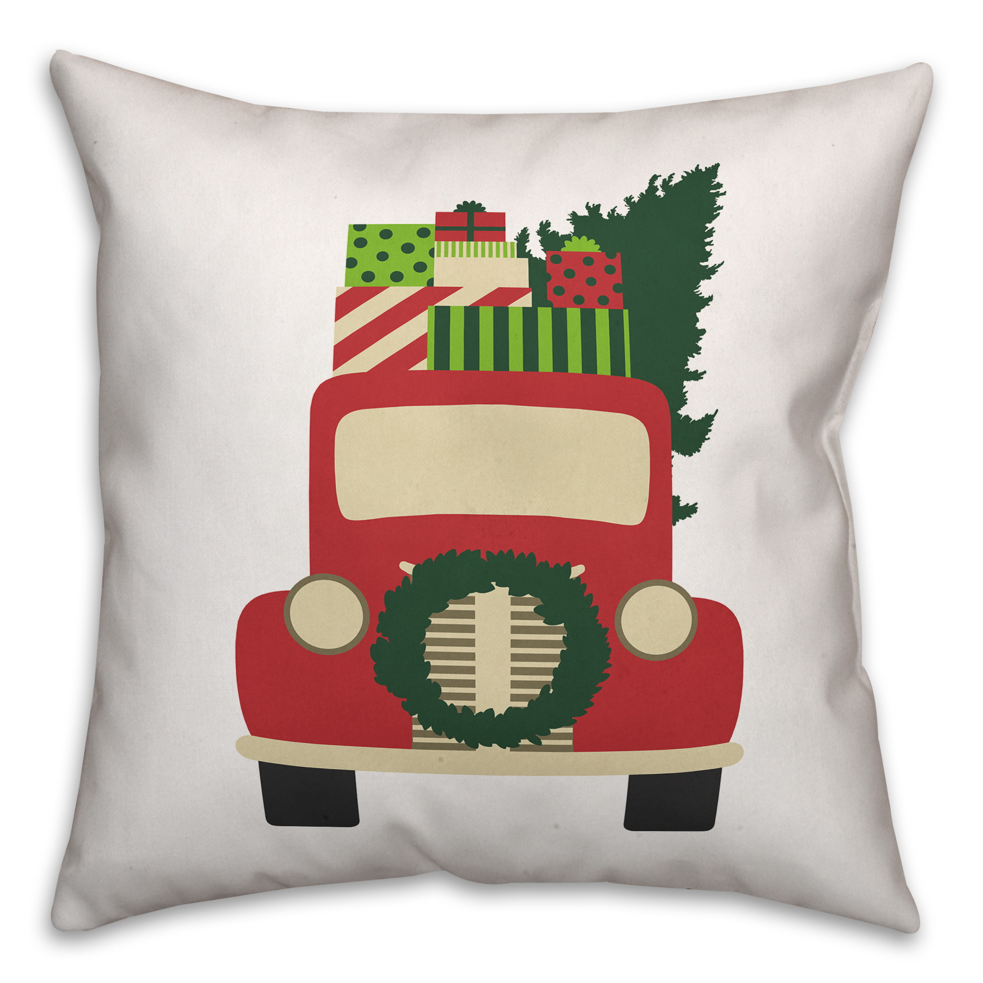 Vintage Christmas Truck 16x16 Spun Poly Pillow Cover