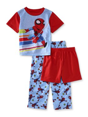 Marvel Super Hero Avengers Spider-Man Toddler Boy Short Sleeve Poly Pajamas, 3pc Set