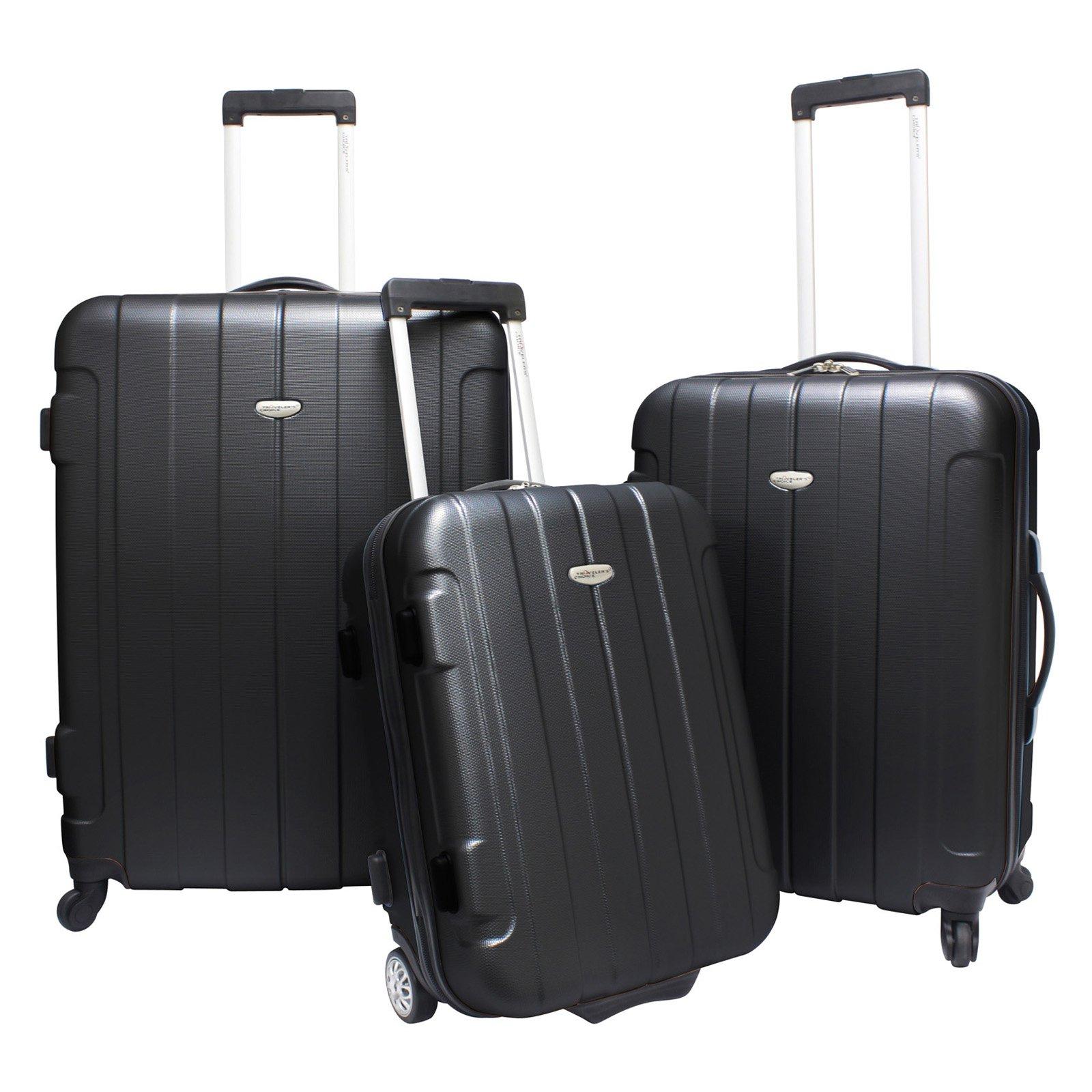 Travelers Choice Rome 3 Piece Lightweight Hardside Spinner & Roller Luggage Set