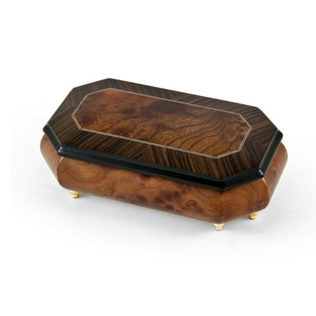 Gorgeous 18 Note Natural Wood Tone Classic Style Cut Corner Music Box - Ail My (Toni Childs Walk And Talk Like Angels)