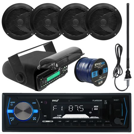 Pyle PLMRB29B MP3 USB SD Bluetooth In-Dash Radio Receiver Bundle Combo With Black Marine Stereo Housing + 4x 6 1/2