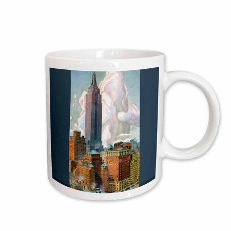 Empire Mug - 3dRose Empire State Building , New York City Postcard Reproduction, Ceramic Mug, 15-ounce