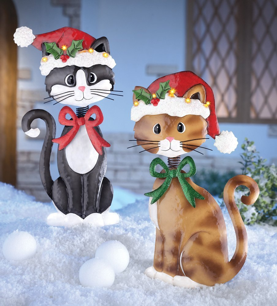Set Of 2 Adorable Metal Christmas Cats Lighted Santa Hat Brown Awesome And Beautiful Decorations Outdoor