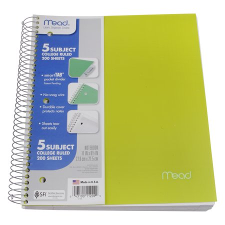 Mead Five Star 5 Subject 200 Sheet College Ruled Notebook, Lime