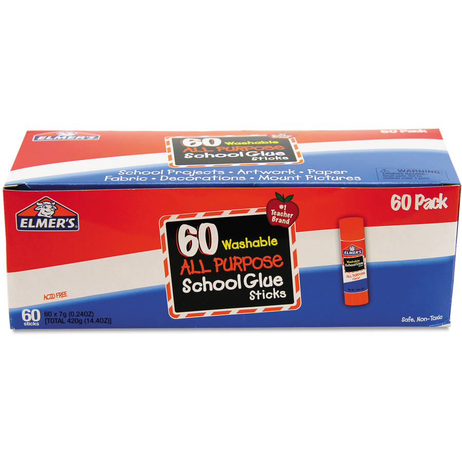 Elmer's Washable All Purpose School Glue Sticks, Clear, 60-Pack