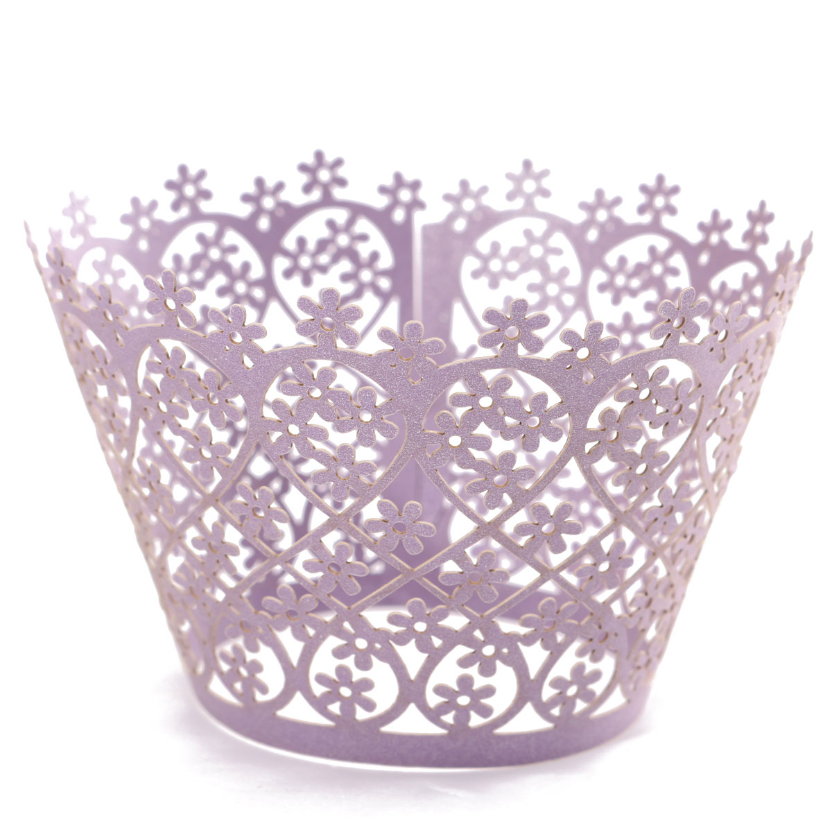 12Pcs Pearly Paper Love Style Vine Lace Cup Cake Wrappers Table Decoration Graduation Cake Decorating Supplies,lilac color