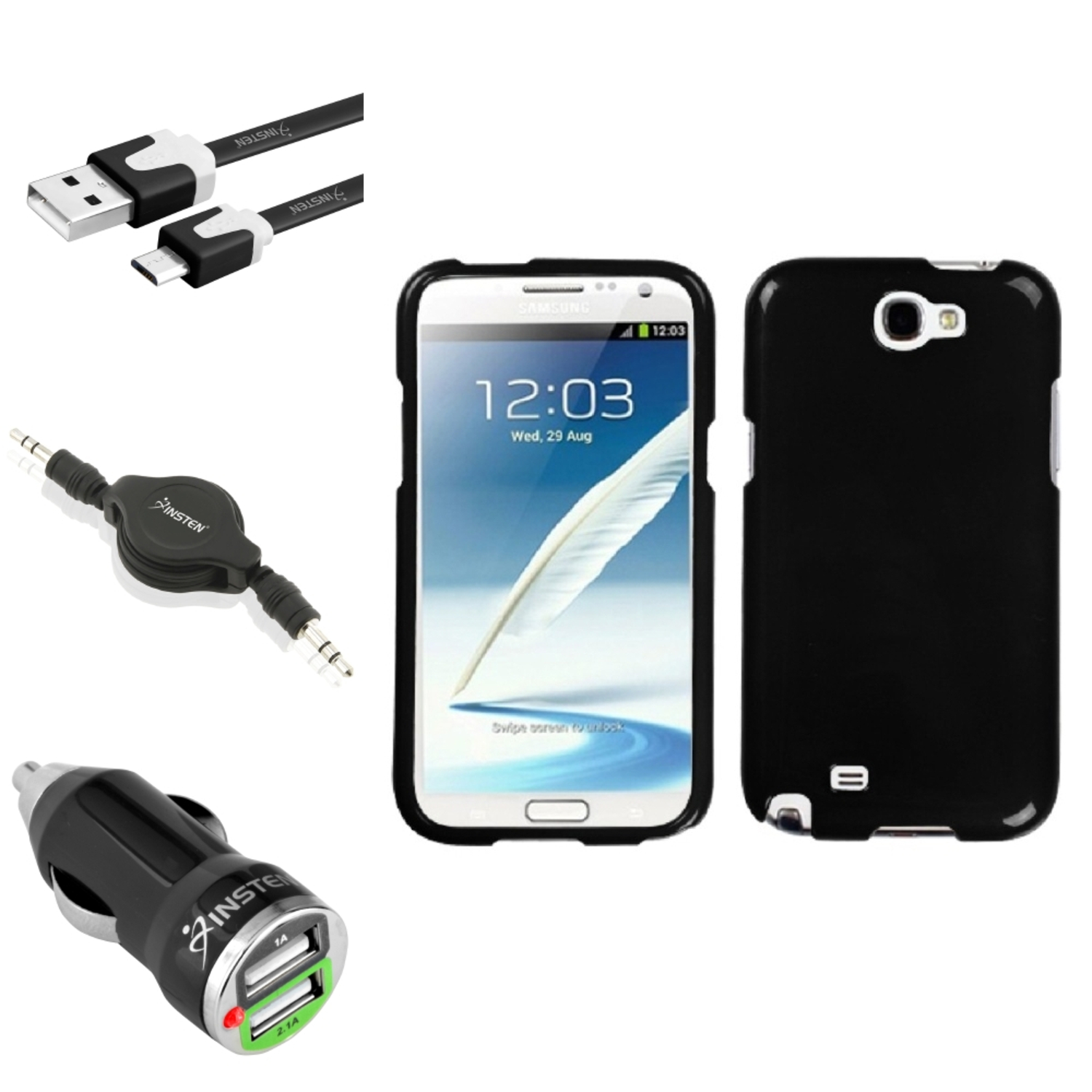 Insten Solid Black Hard Case 2x USB Cable Combo For Samsung Galaxy Note 2 II