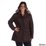 Excelled Women's Plus Size Hooded Puffer Coat Graphite-3X