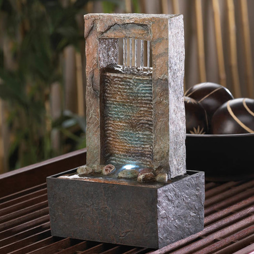 Zingz & Thingz Acrylic Cascading Water Tabletop Polyresin Fountain with Light by Zingz & Thingz
