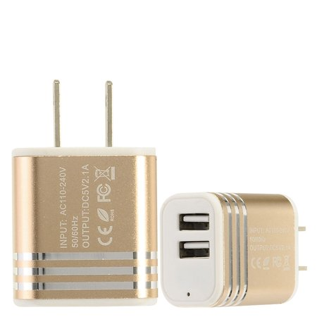 EagleCell 2-Port USB Quick Charge 2.1A Dual Ports Home Travel AC Wall Charger For Cell Phone Tablet - Gold Cell Phone Home Wall Charger