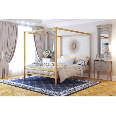 DHP Modern Canopy Bed, Gold, Multiple Sizes - (Modern Bed)