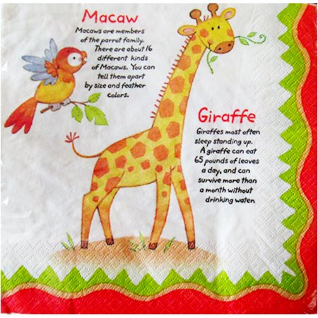 Jungle Animals 'World Safari' Lunch Napkins (16ct) - World Market Napkins