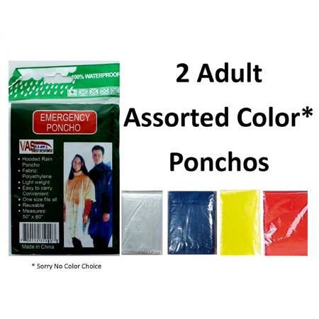 2  Pack Assorted Color Rain Poncho Emergency Lightweight Hood Camping Outdoor Rain Coat Jacket One Size Fits Most