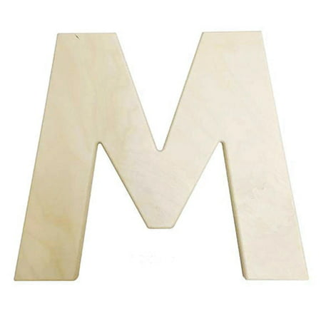 Large Unfinished Wood Letter: M - 12 inches