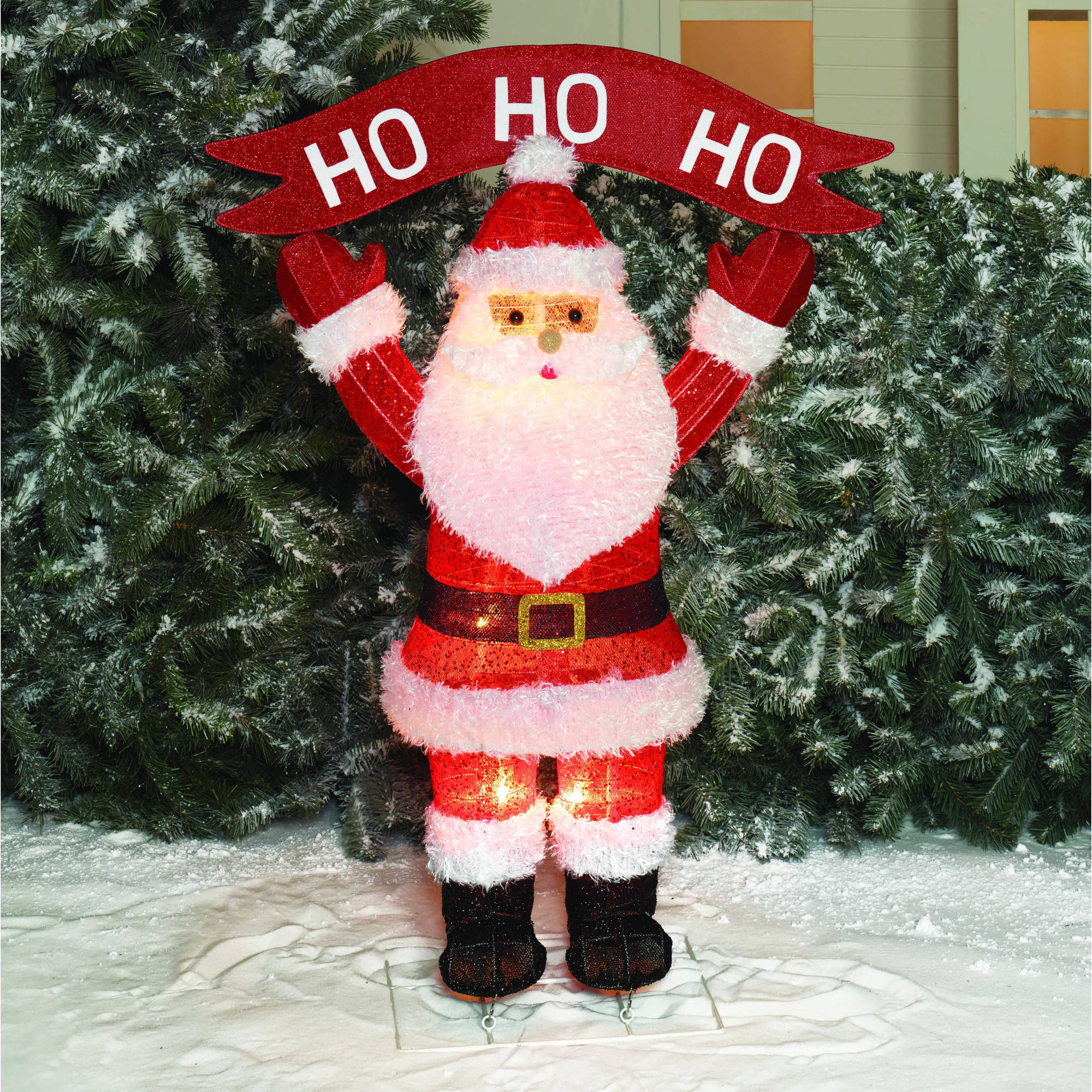 Holiday Time Christmas Decor 40 Pop - Up Fluffy Santa with HoHoHo Sculpture