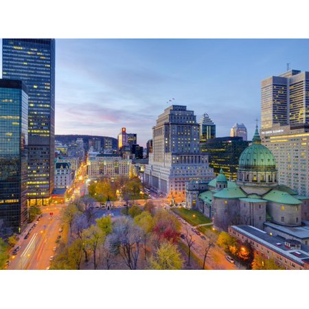 Canada, Quebec, Montreal, Place Du Canada and Dorchester Square, Cathedral-Basilica of Mary, Print Wall Art By Alan