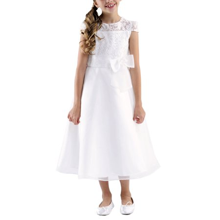 Girls' Lace Bodice Flower Girl Dress with Organza Bow - Flower Girl Dresses Organza