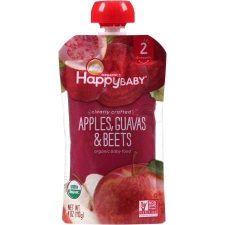 Happy Baby Clearly Crafted, Stage 2, Organic Baby Food, Apples, Guavas & Beets, 4 Oz