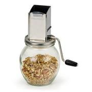 RSVP Endurance Vintage Stainless Steel Hopper Hand Crank 1.25-Cup Jar Nutgrinder