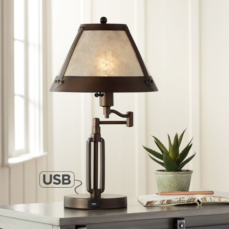 Franklin Iron Works Traditional Desk Table Lamp Swing Arm with Hotel Style USB Charging Port Bronze Natural Mica Shade for Bedroom Office Carbon Works Swing Arm