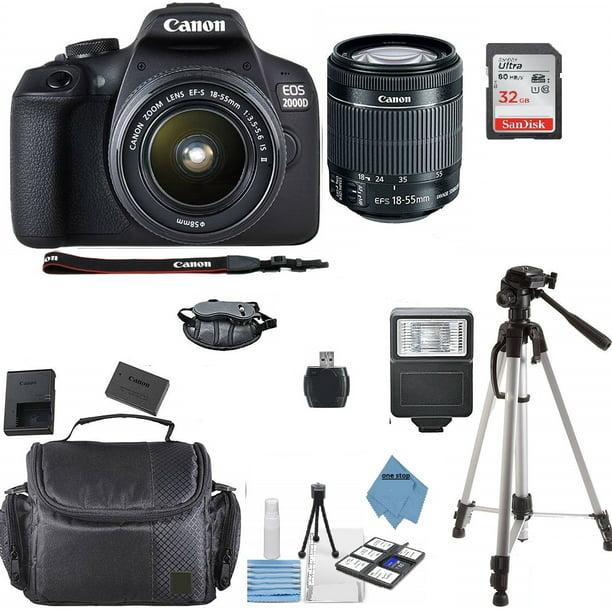 Canon EOS 2000D / Rebel T7 24.1MP Digital SLR Camera + EF-S 18-55mm lens + Case + ONESTOP BUNDLE