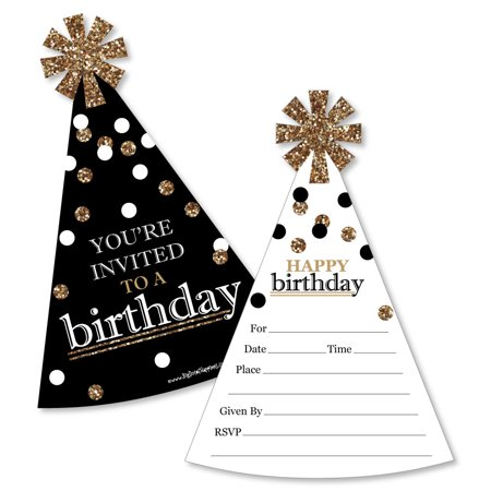 Adult Happy Birthday - Gold - Shaped Fill-In Invitations - Birthday Party Invitation Cards with Envelopes - Set of 12](Gold Invitations)