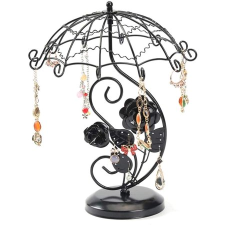 Jewelry Display Stand Antique Umbralla Necklace Earring Bracelet Holder Organizer Rack Tower, Black