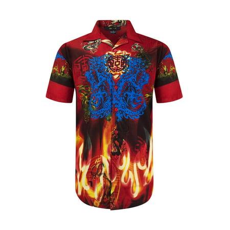 NEW Men Siblimation Button Up Shirt Dragon Fire Design Collar Short Sleeve  S-XL