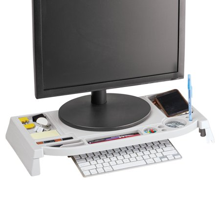 Desktop Computer Organizer Stand and Riser with Space for Keyboard to Fit Under, Storage for Office Supplies