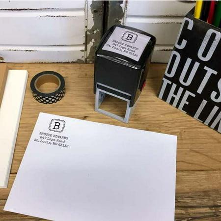 Personalized Square Self Inking Rubber Stamp - Quatrefoil Monogram (Personalized Shelf)