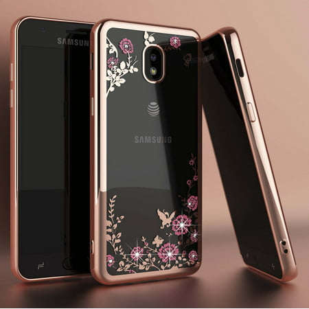 Galaxy J7 2018 / J7 Crown / J7 Top / J7 Eon / J7 Star, Njjex Cute for Girls Glitter Bling Diamond Rhinestone Bumper Sparkly Protective Phone Case For Galaxy (Full Diamond Bling Phone)