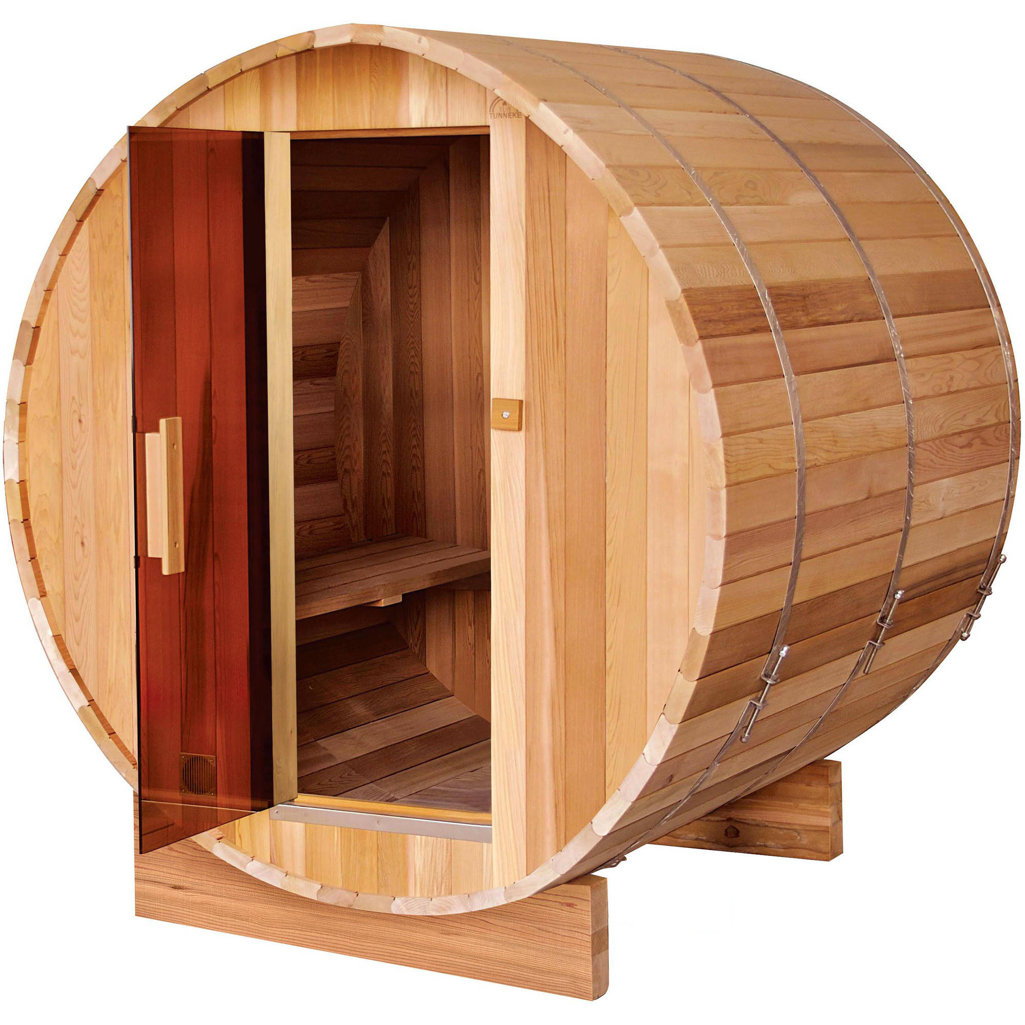 ALEKO SB4CEDAR 4 Person Indoor and Outdoor Western Red Rustic Cedar Dry Wet Barrel Sauna... by ALEKO
