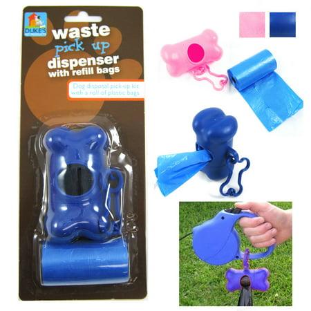 Bone Shape Pet Dog Cat Pickup Poop Bags Dispenser Refill Roll Waste Clean Up (Bone Roll)