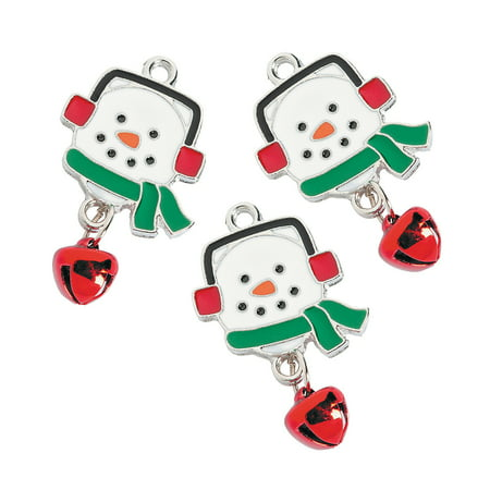 Fun Express - Cute Enamel Snowman Charms for Christmas - Craft Supplies - Adult Beading - Charms - Christmas - 12 Pieces