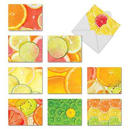 M10021BK CITRUS SLICES' 10 Assorted All Occasions Greeting Cards Offer Images of Juicy Lemons Limes and Oranges with Envelopes by The Best Card