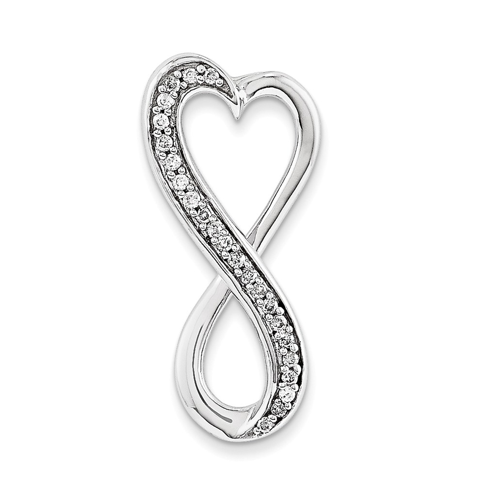 IceCarats 14k White Gold Diamond Freeform Heart Chain Slide Pendant Charm Necklace Love Fine Jewelry Gift Valentine Day... by IceCarats