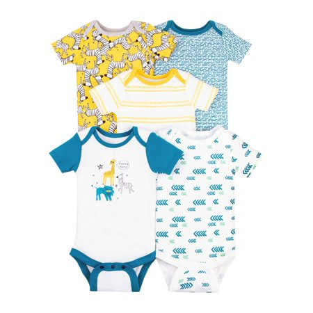 Little Star Organic Baby Boy 100% Organic Cotton Short Sleeve Bodysuits, 5-pack