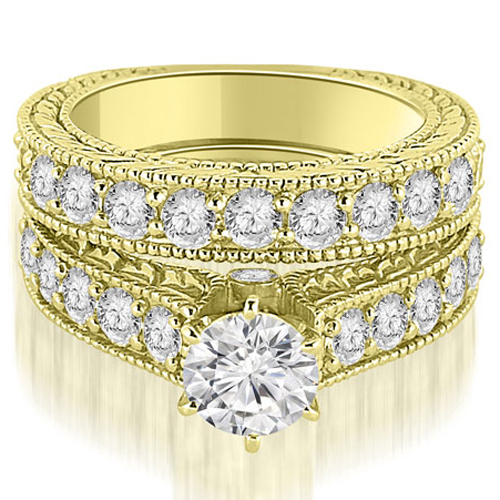 2.90 CT.TW Antique Cathedral Round Cut Diamond Engagement Set in 14K White, Yellow Or Rose Gold