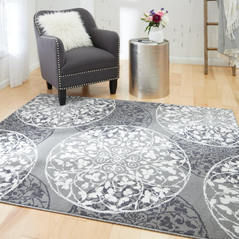 Mainstays Amira Medallion Indoor Living Room Area Rug Grey 4 11 X 6 Walmart Com Walmart Com