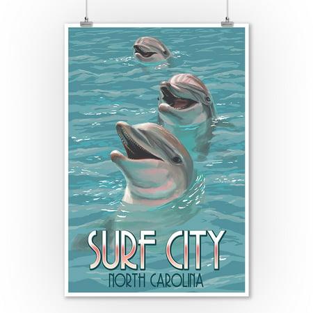Surf City, North Carolina - Dolphins - Lantern Press Poster (9x12 Art Print, Wall Decor Travel Poster)](Windy City Dolphins)
