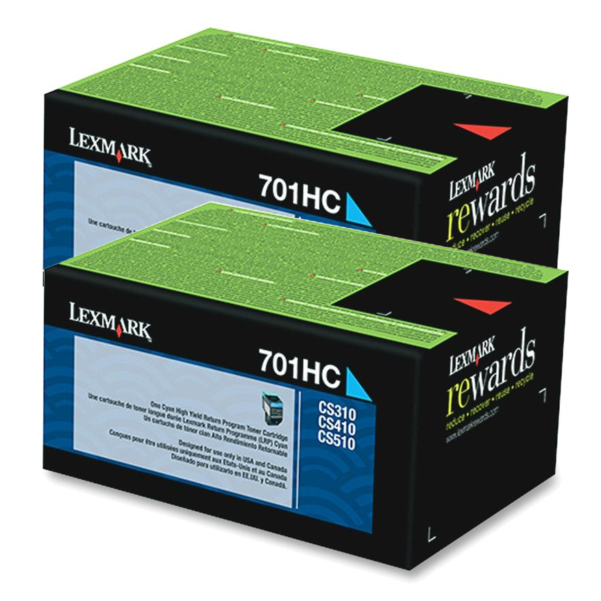 70C1HC0 (LEX-701HC) High-Yield Toner, 3000 Page-Yield, Cyan, Sold as 2 Each