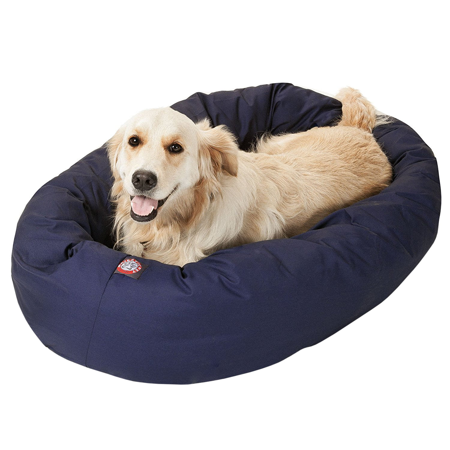 Majestic Pet Solid Poly/Cotton Bagel Dog Bed Spine Support Bolster Machine Washable
