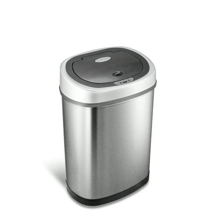 Nine Stars 11.1 Gal / 42L Motion Sensor Oval Trash Can, Fingerprint-Resistant Stainless Steel